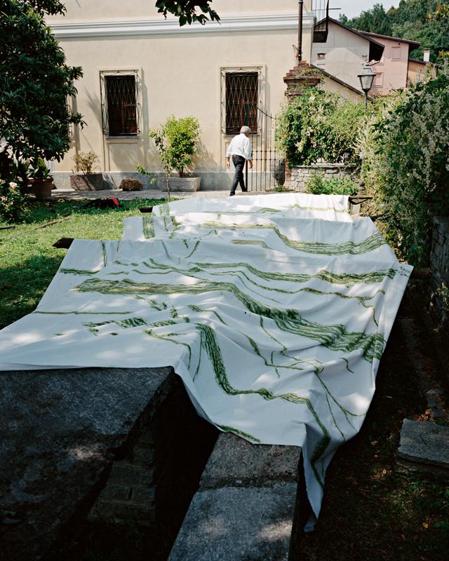 Un grand drap blanc se déploie dans le jardin, sur une table en pierre irrégulière longue de dix mètres. L'artiste sélectionne quelques branches et feuilles pour les frotter vigoureusement. Les traces verdoyantes fécondent le tissu.