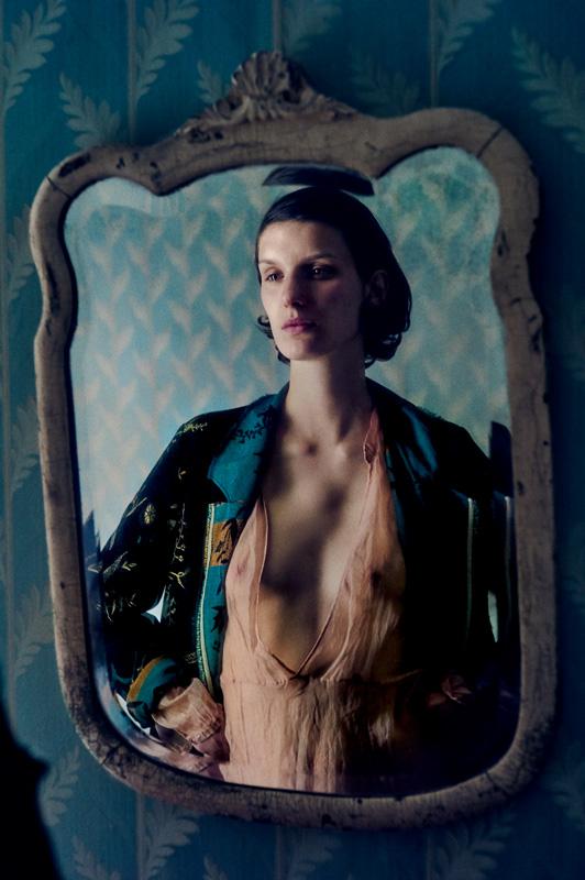 Manteau en jacquard de velours côtelé imprimé et robe en organza de soie, FORTEFORTE.