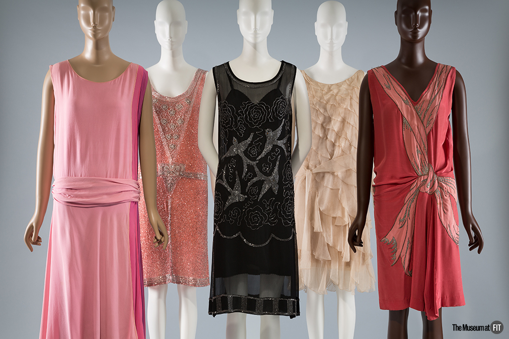 Group of 1920s evening dresses