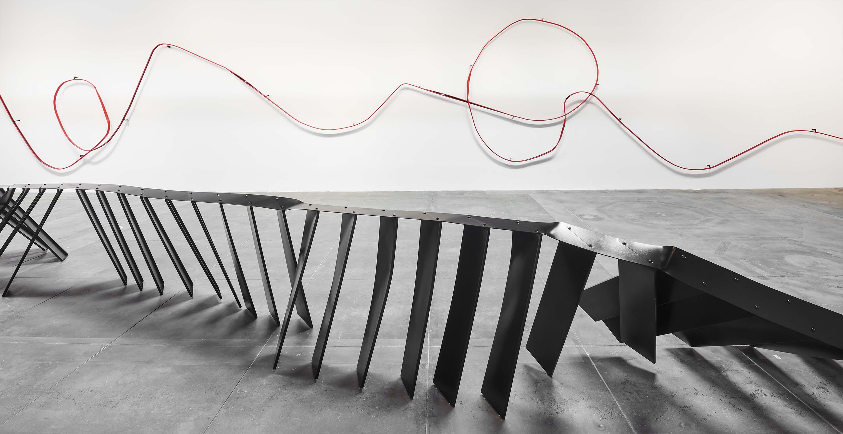 Installation view, 'Monika Sosnowska', Hauser & Wirth Los Angeles, 2017 © Monika Sosnowska Courtesy the artist and Hauser & Wirth Photo: Mario de Lopez