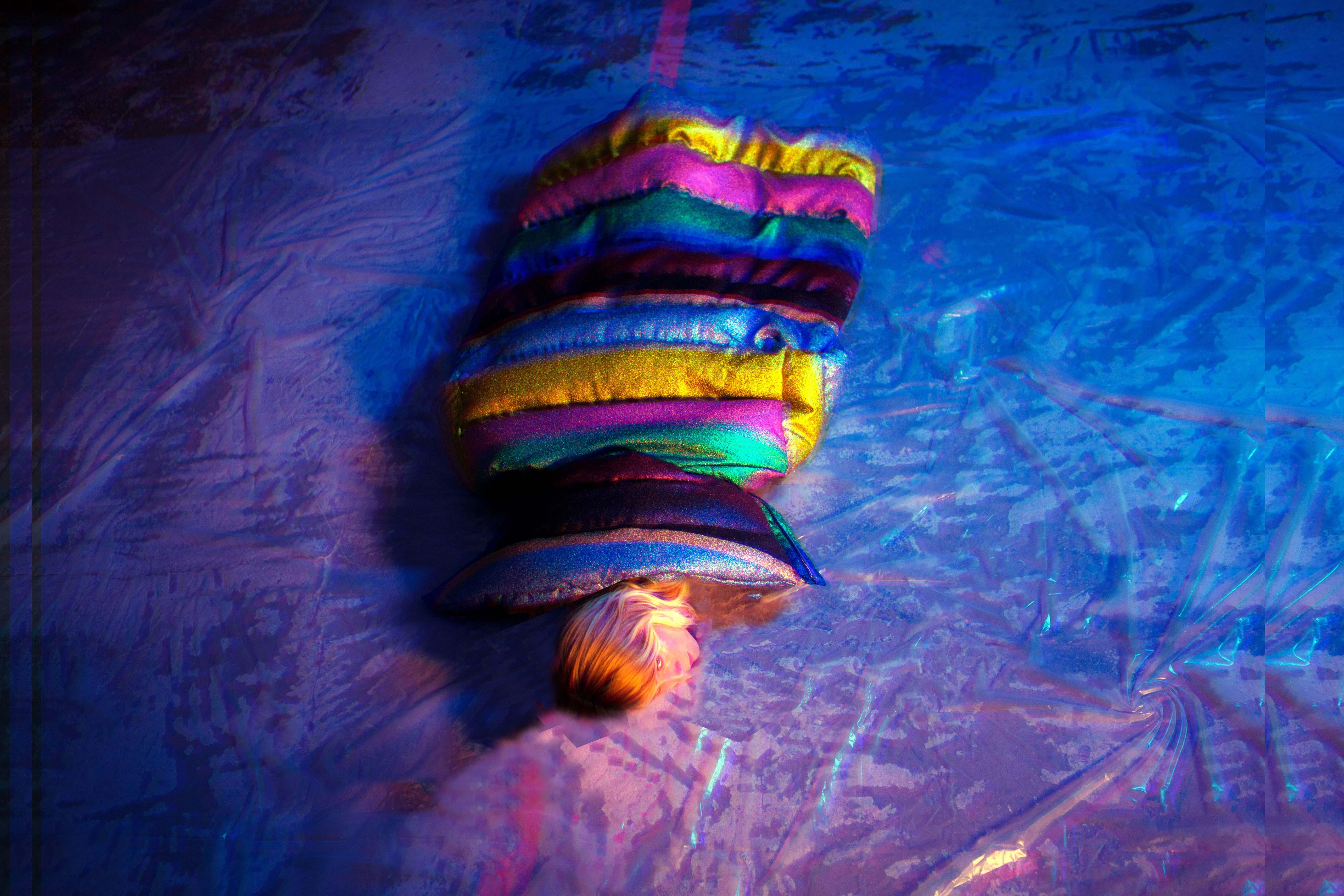 Multicolor Lurex oversized coat, MARCO DE VINCENZO.