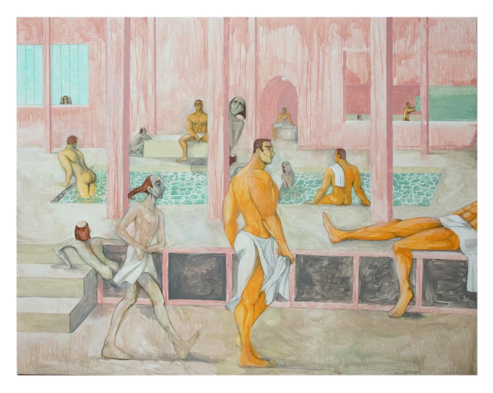 """""""Pompeii Bathhouse"""" (2017) de Julien Ceccaldi. Acrylique sur panneau de contreplaqué."""