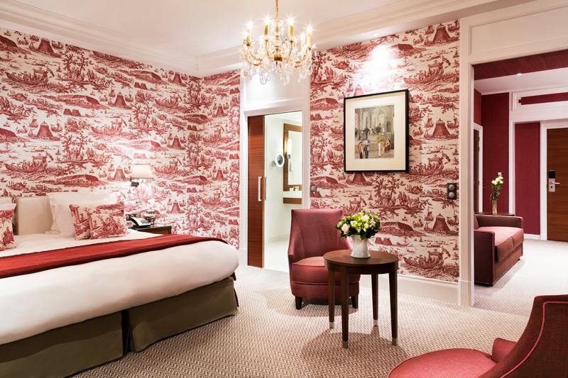 Une chambre décorée de toile de Jouy