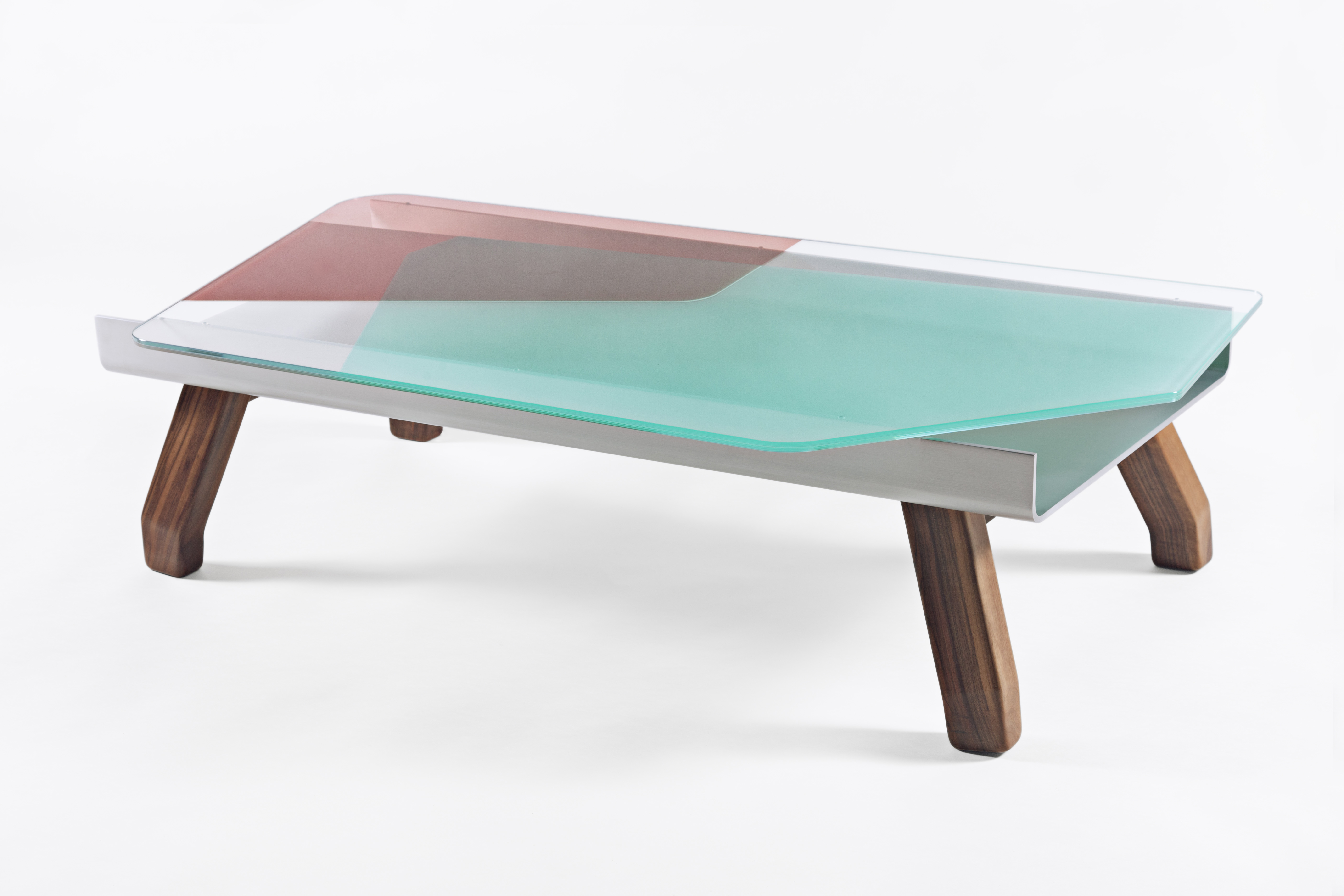 Dragonfly Coffee Table 2013 Hella Jongerius Limited edition of 8 pieces + 2 A.P. + 2 Prototypes Numbered and signed pieces Glass, transparent spray-painted aluminium and American walnut.color to choose: green, pink or orange. Dimensions: - Height: 13,8 inches (35 cm) - Length: 52,9 inches (134,4 cm) - Depth: 28,8 inches (73,1 cm)