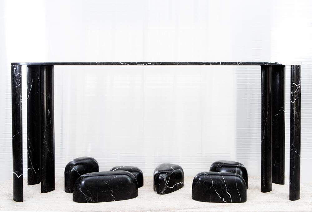 "Bar et repose-pieds ""Joliejoie"" (2018). Marbre Grand Antique d'Aubert. Design Gregory Gatserelia, Gate 5 Gallery."