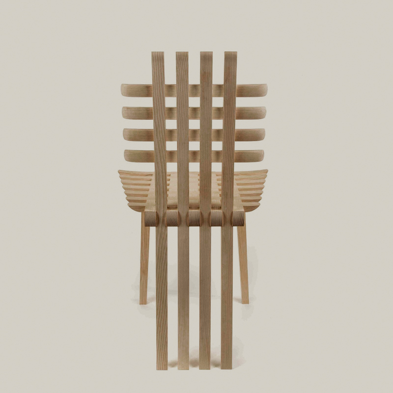 A Touch of Mack (2015) by Hannes Stephensen. Chair in ash wood. Galerie Maria Westergren, www.mariawettergren.com