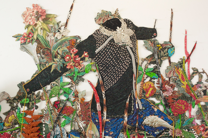 """Ebony G. Patterson. """". . . a wailing black horse . . . for those who bear/bare witness"""", 2018 (detail). Hand cut jacquard photo tapestry with glitter, appliques, pins, embellishments, fabric, tassels, brooches, acrylic, glass pearls, beads, hand cast embellished heliconias, shelf, embellished resin owl, and artist-designed fabric wallpaper (not pictured). Courtesy the artist and Monique Meloche Gallery, Chicago."""