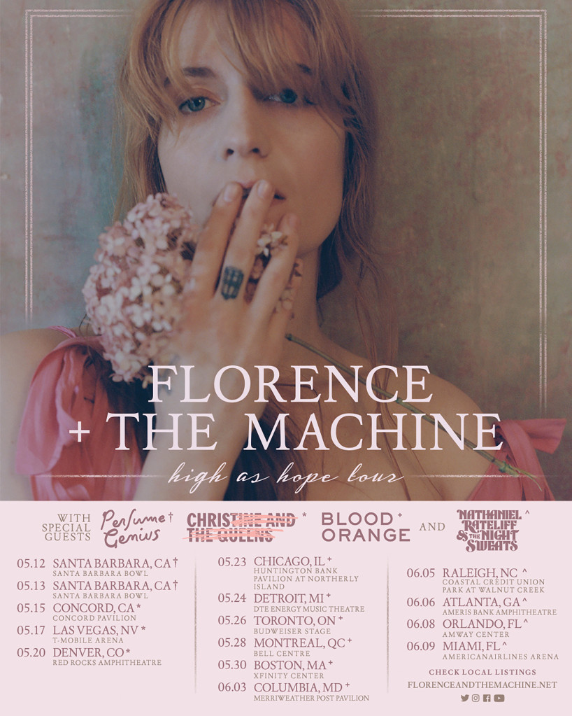 "Affiche de la tournée ""High as Hope"", Florence-and-the-Machine."