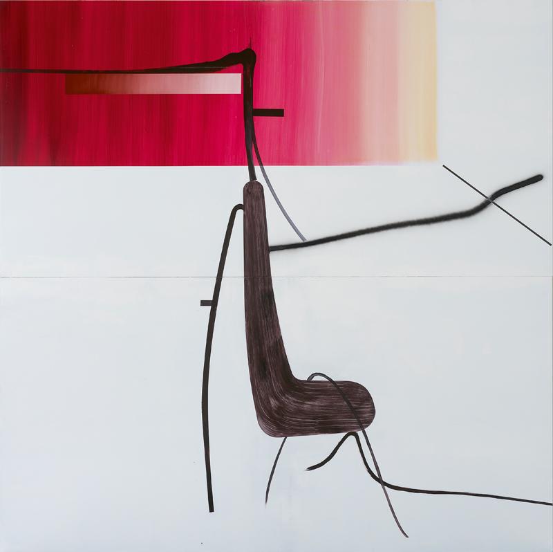 """""""Ohne Titel (Baum 9)"""" (2014) d'Albert Oehlen, issu de sa série de peintures d'arbres, commencée en 2013. Huile sur Dibond, 250 x 250 cm."""