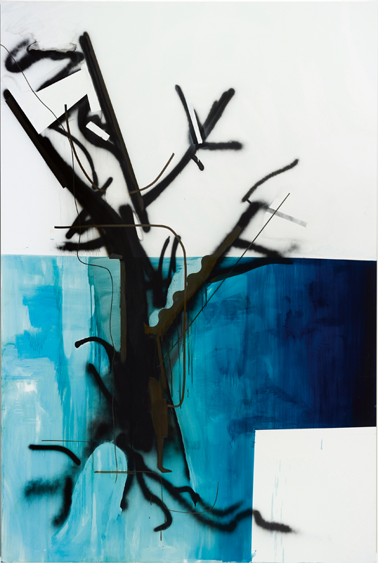"""Ohne Titel (Baum 58)"" (2015) d'Albert Oehlen. Huile sur Dibond, 300 x 200 cm. Albert Oehlen/Photo : Simon Vogel."