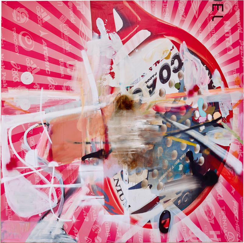 """Ohne Titel"" (2016) d'Albert Oehlen. Huile, laque et papier sur toile, 250 x 250 cm. Collection Pinault. Albert Oehlen/FMGB Guggenheim Bilbao Museoa, Bilbao 2018, photo : Erika Ede."