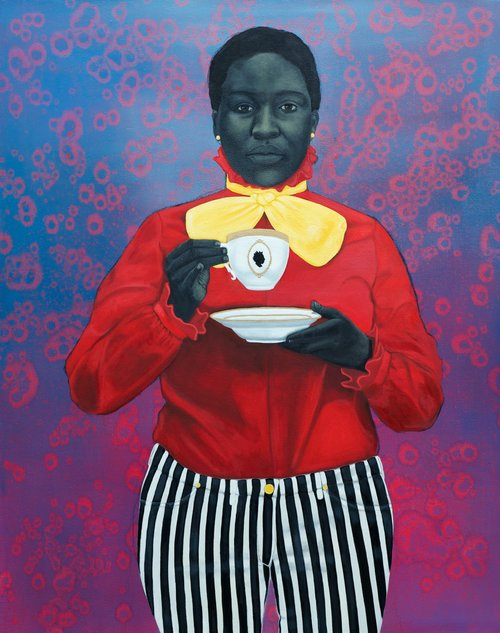 """Grand Dame Queenie"" (2013) d'Amy Sherald,  huile sur toile, 137 x 109 cm. Collection : Smithsonian African American Museum."