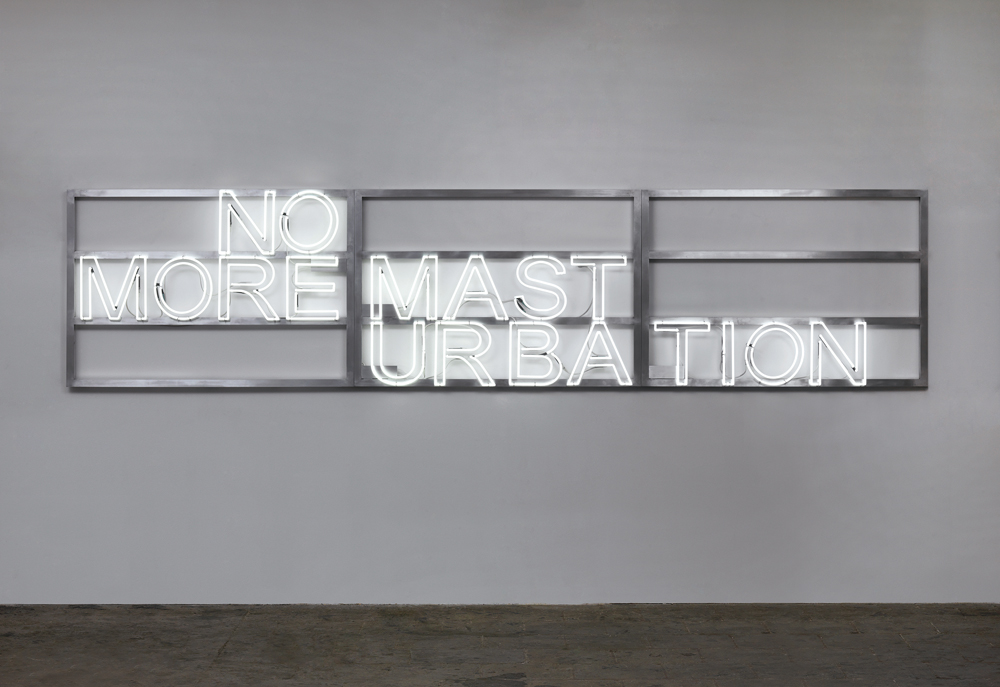 """Monica Bonvicini, """"No More #1"""", doubles letters in neon, aluminium frames and electrical cables (2016). Courtesy of Monica Bonvicini © Monica Bonvicini and VG Bild-Kunst. Photo by Jens Ziehe."""