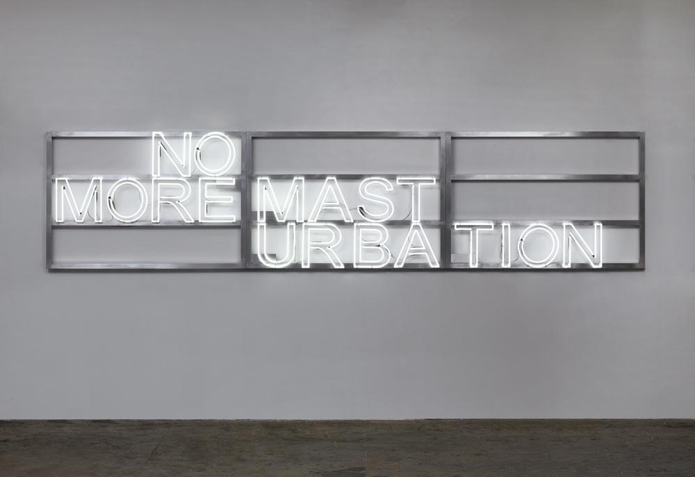 """Monica Bonvicini, """"No More #1"""", doubles lettres en néon, cadres d'aluminium et câbles électriques (2016). Courtesy of Monica Bonvicini/© Monica Bonvicini et VG Bild-Kunst/Photo : Jens Ziehe."""