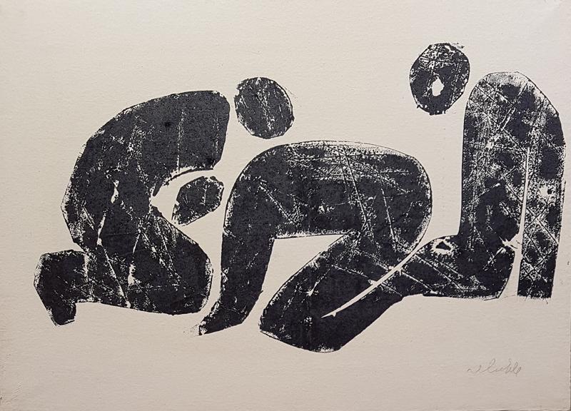 """Détail de l'ensemble de 30 pièces, """"The World That Creates"""", 1961 d'Hamed Abdalla. Encre sur papier."""