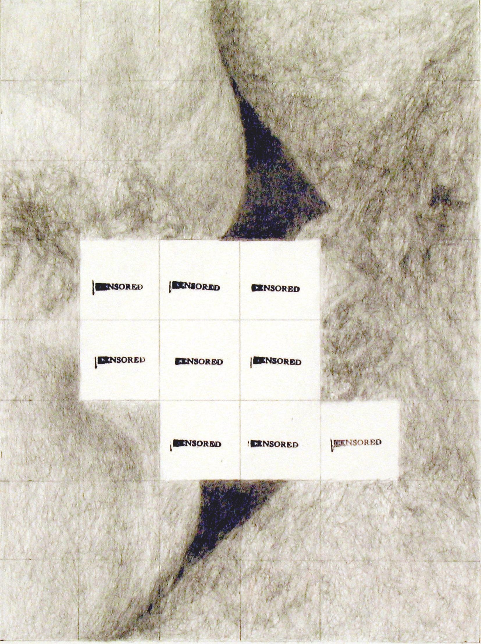 Censored Grid #10 (2008), crayon et encre sur papier. 43 × 36 cm. Courtesy of Betty Tompkins.