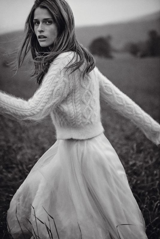 Wool sweater and silk skirt, LANVIN.