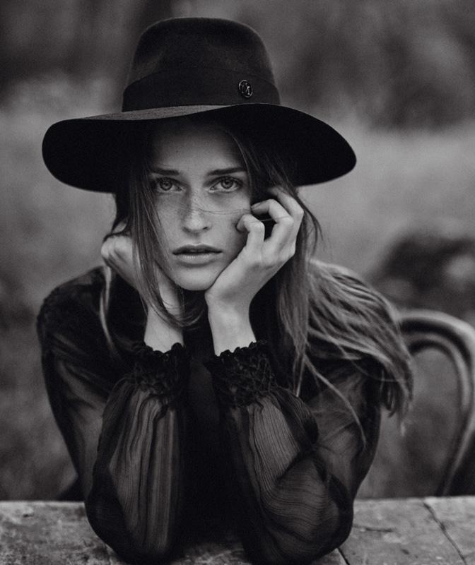Silk dress, DIOR. Hat, MAISON MICHEL.