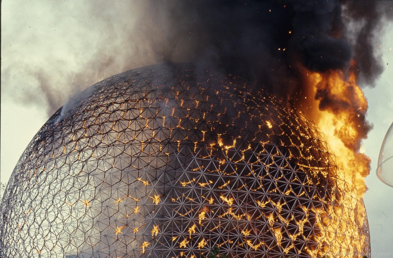 La biosphère en feu (1976). Image d'illustration pour le synopsis de Julien Discrit. Copyright : ©Archives de la Ville de Montréal