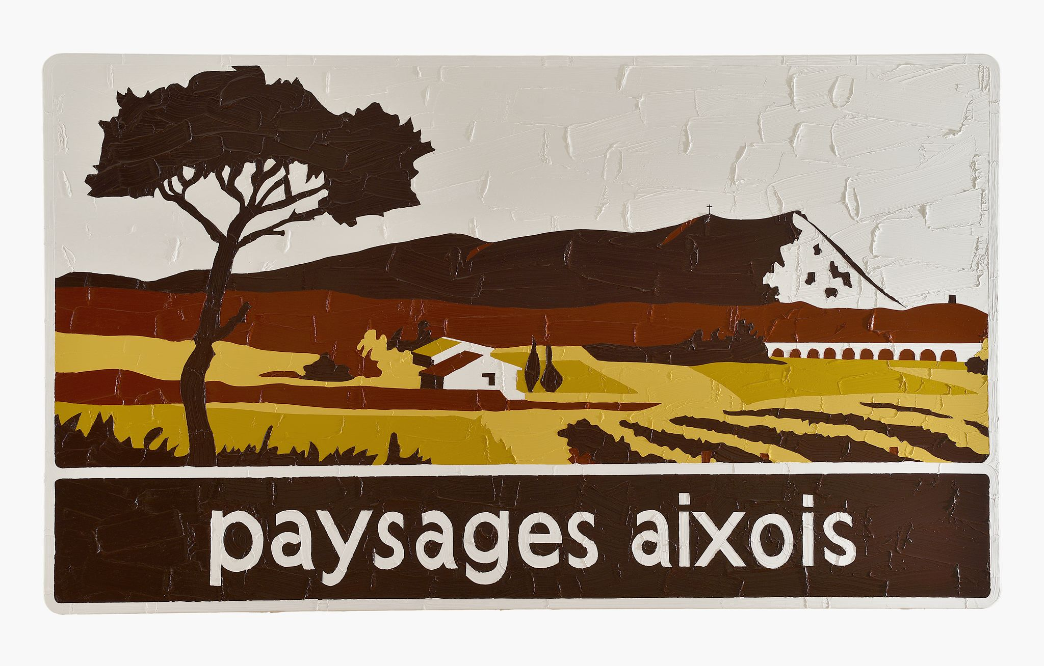 Bertrand Lavier. Paysages aixois, 2015. Acrylic on traffic sign. 140 x 240 cm - 55 1/8 x 94 1/2 inches © Bertrand Lavier. Courtesy of the Artist and Almine Rech Gallery. Photo: Hervé Hote