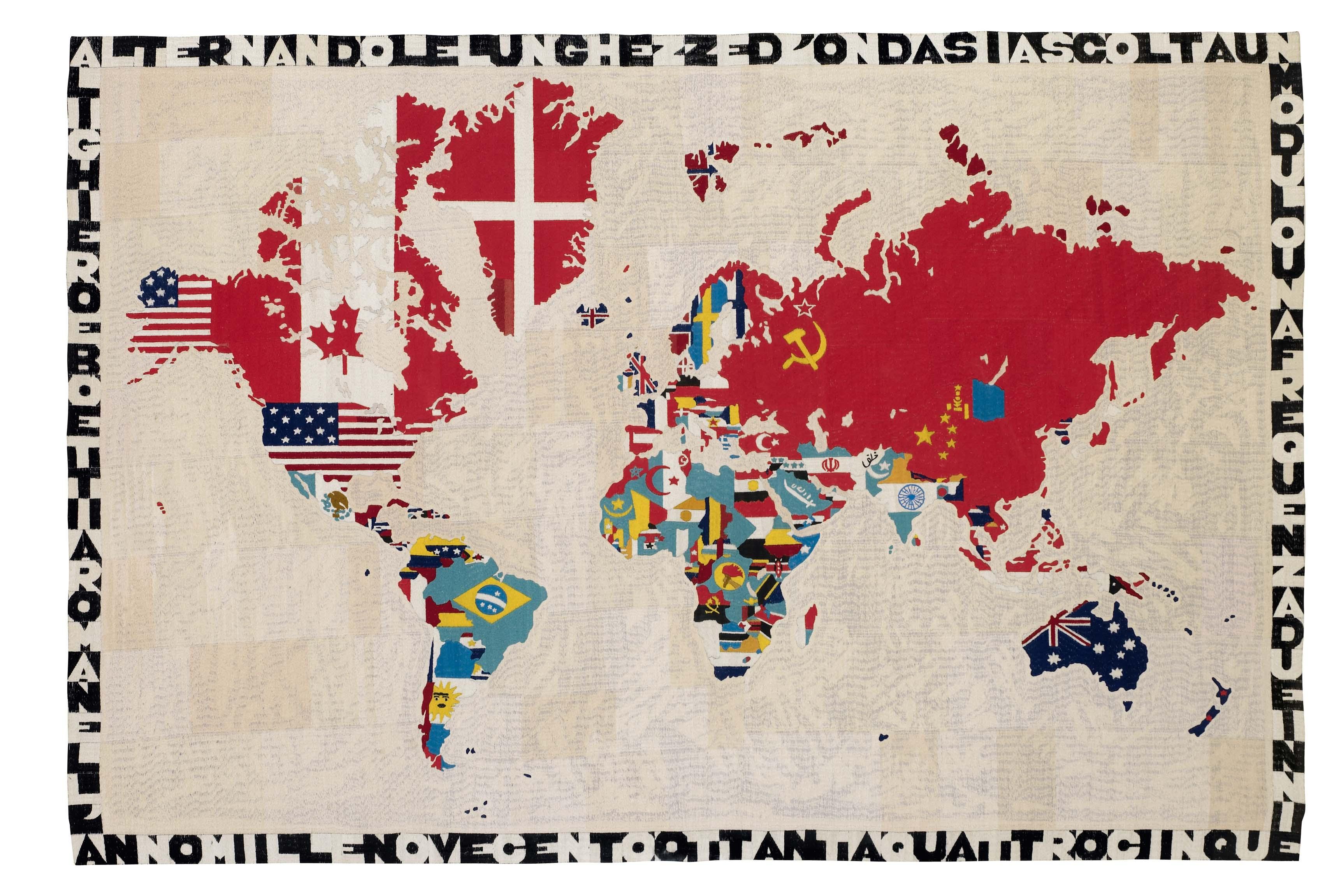 Alighiero Boetti, Mappa Del Mondo, 1984. Tapisserie sur toile.