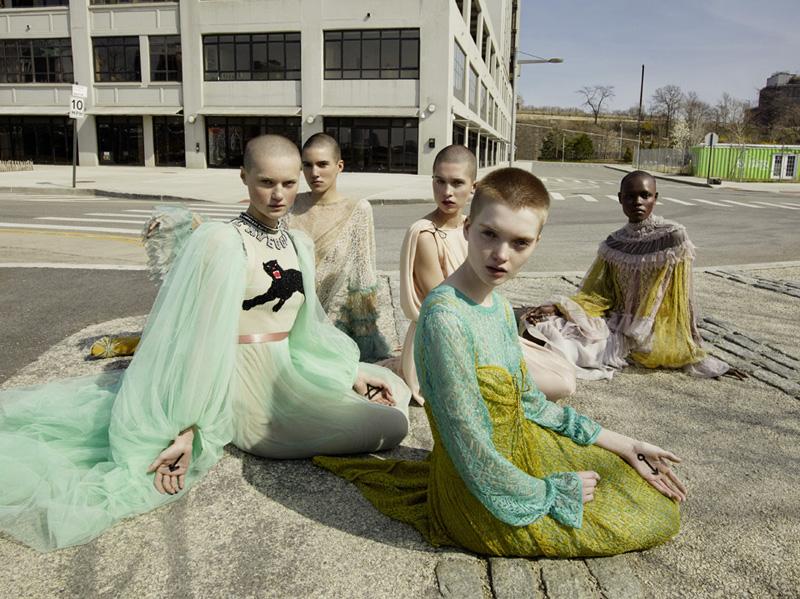 "Mia Rae, Tamy Glauser, Ava McAvoy, Ruth Bell, Grace Bol ""W Magazine"" New York, 2016 © 2017 Mert Alas & Marcus Piggott"