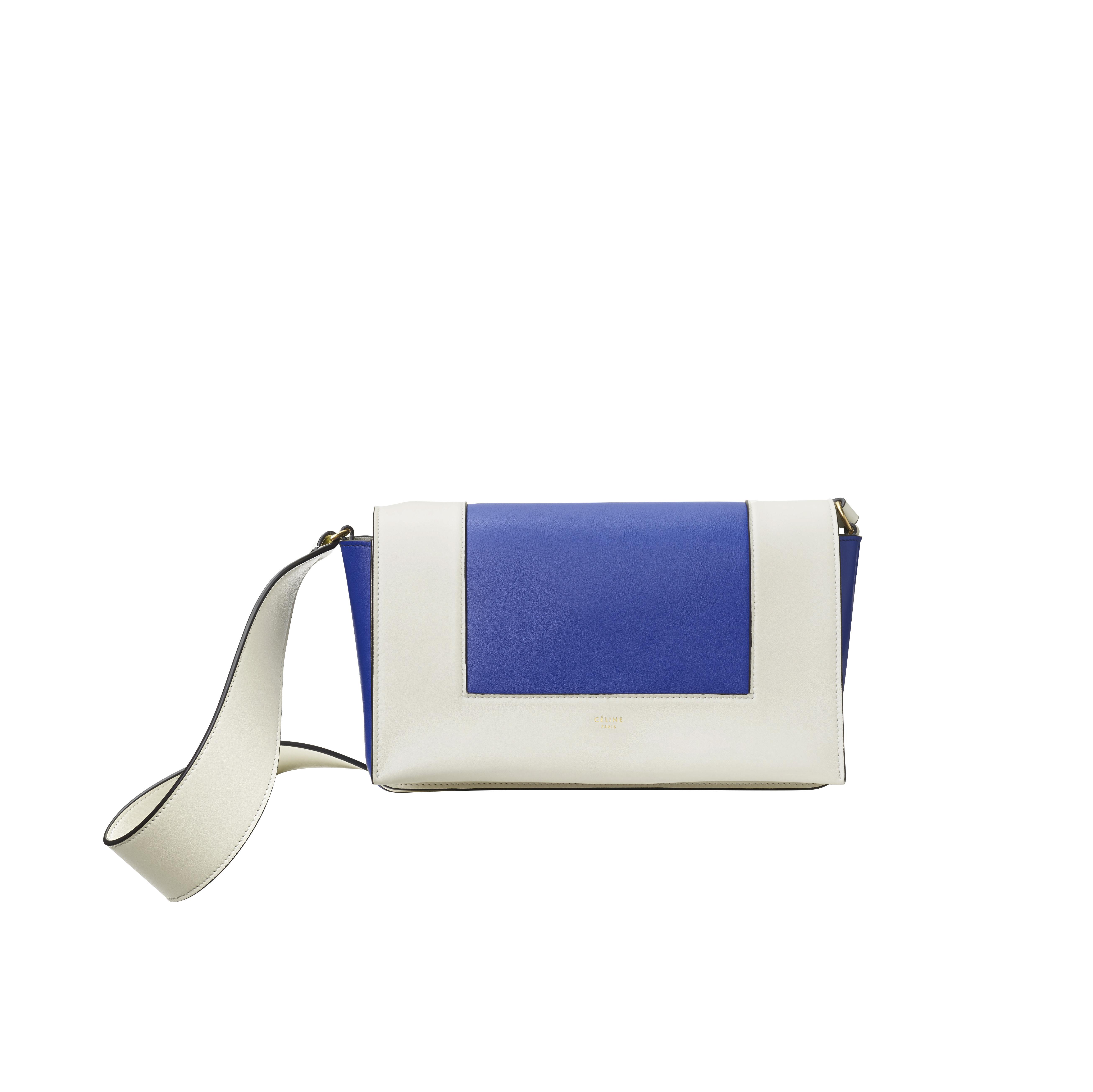 """Sac """"Frame"""" en cuir de veau brillant blanc et bleu, CÉLINE."""