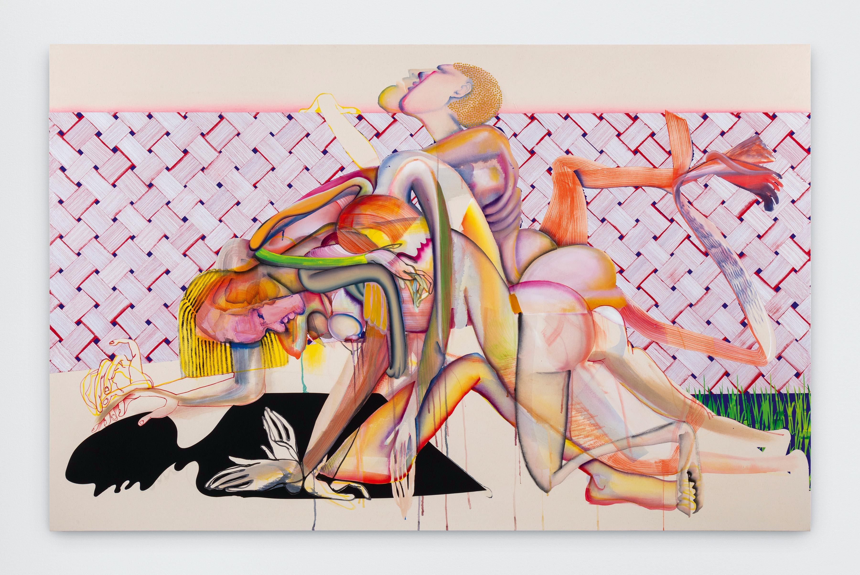 """Peer Amid"" (Peered Amidst) [2019], de Christina Quarles, acrylique sur toile, 139,7 x 218,4 x 5,1 cm."