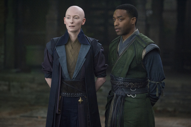 """Doctor Strange"", 2016. For the director Scott Derickson, Tilda Swinton takes on another feat of extreme hair by playing a Tibetan witch with a shaved head."