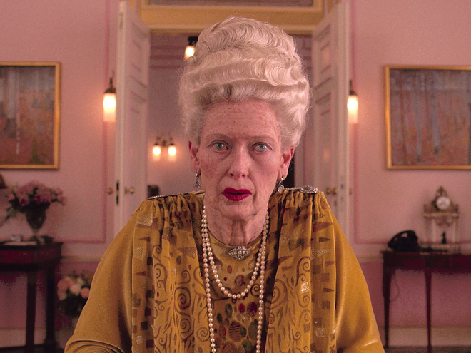 """The Grand Budapest Hotel"", 2014. Tilda Swinton is unrecognisable as the eighty-something hotel guest in love with Ralph Fiennes' character in Wes Anderson's masterpiece. To add to the realism she learnt how an old lady would apply her make-up and lipstick."
