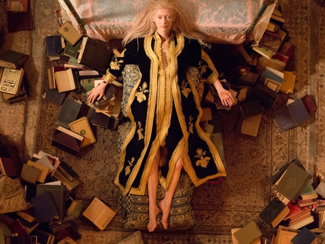"""Only Lovers Left Alive"", 2014. Playing on her atypical physique, Tilda Swinton joined forces once again with Jim Jarmusch for the role of Eve, a wild-haired vampire with very sharp teeth."