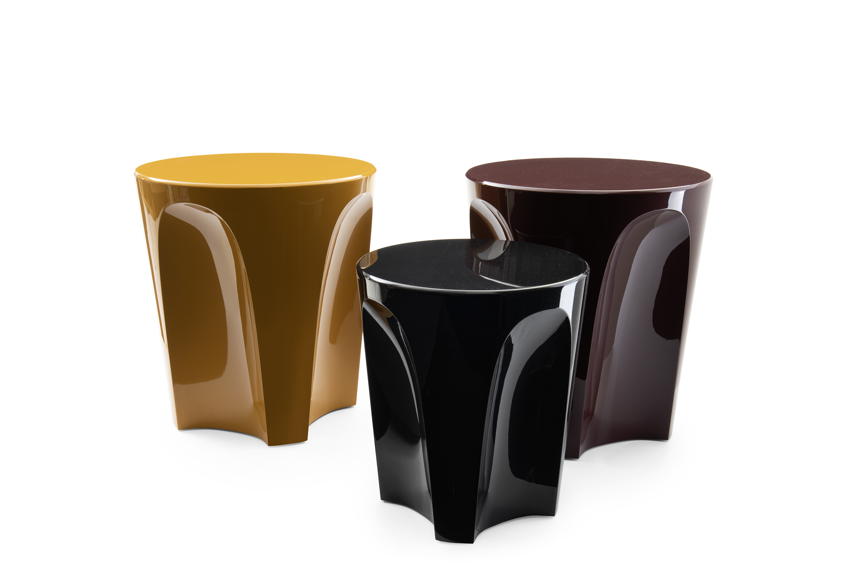 "B&B Italia design 2018, ""Colosseo"", a stool in polished rigid polyurethane available in sixteen bright colours"