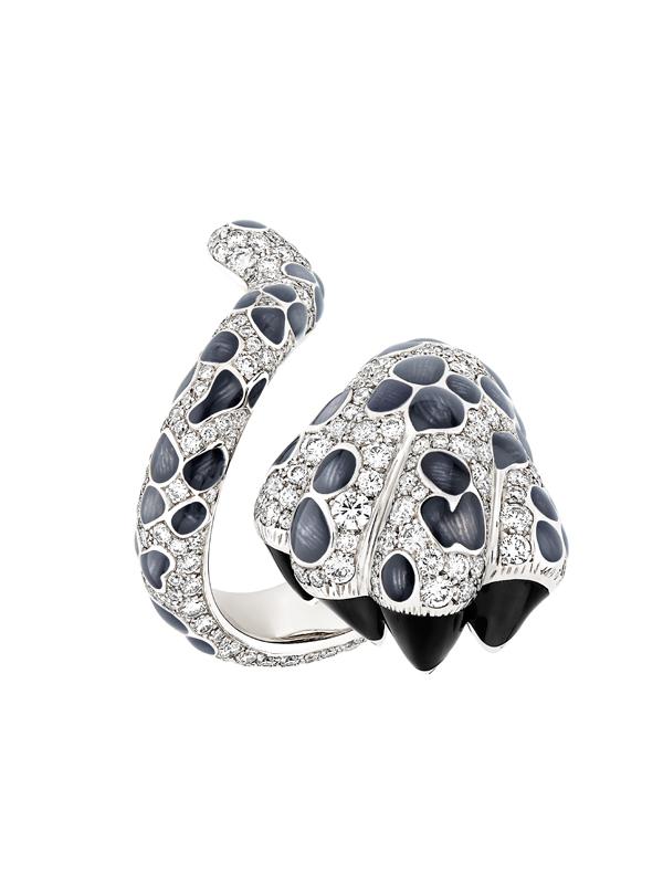 """Bague """"Mitza"""" en or blanc, diamants et laque gris-bleu. DIOR JOAILLERIE."""