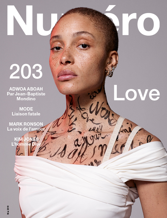 Adwoa Aboah photographed by Jean-Baptiste Mondino. Directed by Babeth Djian. Adwoa Aboah [at Viva Model Management] is wearing a long draped jersey dress, DIOR. Make-up: Lancôme by Marie Duhart at Bryant Artists. Assistants of direction: Camille-Joséphine Teisseire and Fernando Damasceno. Digital: Dope. Retouching: Janvier. Production: Iconoclast image.