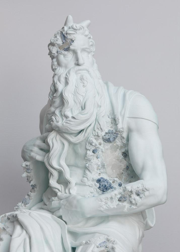 Daniel Arsham Blue Calcite Eroded Moses, (detail) 2019. Blue calcite, hydrostone. 260 x 119 x 125 cm | 102 3/8 x 46 7/8 x 49 3/16 in Photo: Claire Dorn © Courtesy the artist & Perrotin