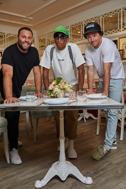 David Grutman, Pharrell Williams and Jean Imbert at the Swan restaurant in Miami.