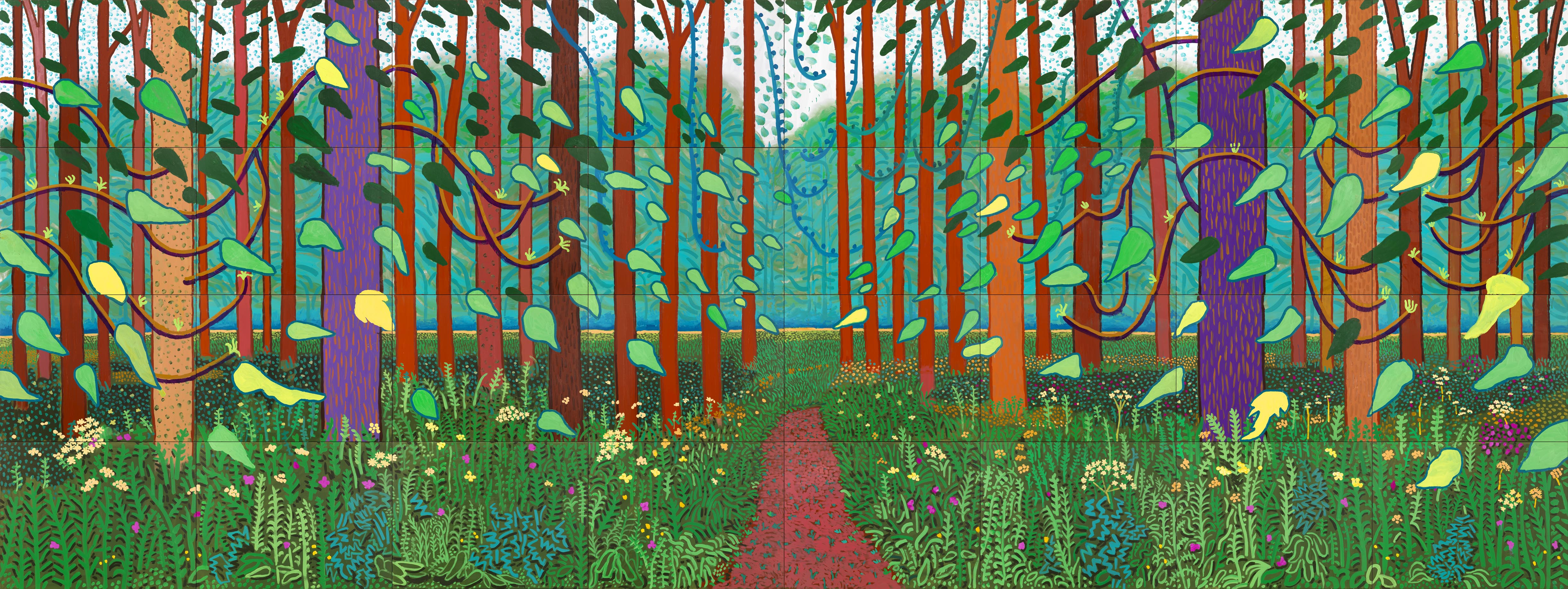 """The Arrival of spring in Woldgate, East Yorkshire"", (366 cm x 975 cm), David Hockney"