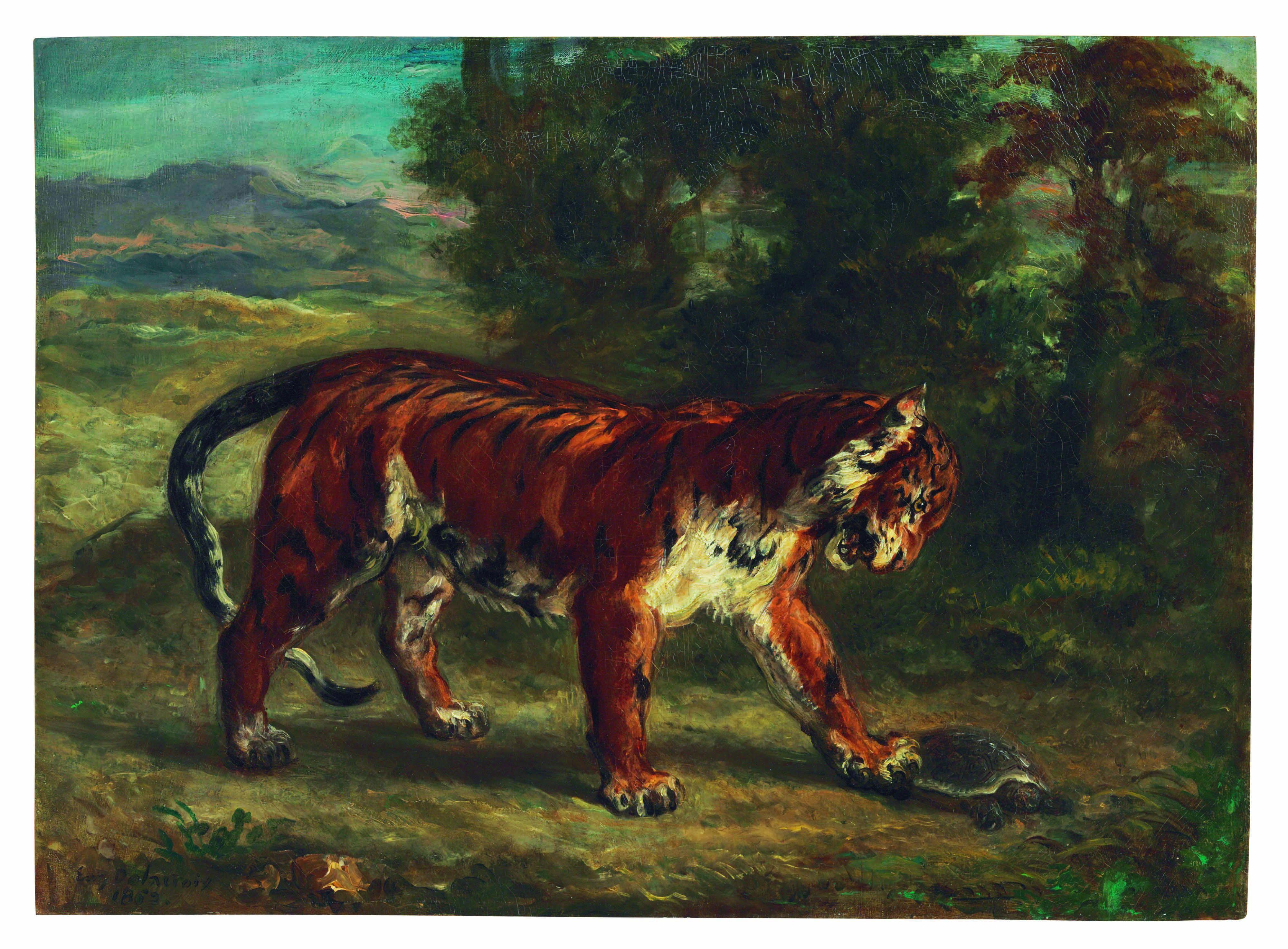 TIGRE JOUANT AVEC UNE TORTUE (1862), D'EUGÈNE DELACROIX. HUILE SUR TOILE, 45,1 X 62,2 CM. ESTIMÉ ENTRE 5 ET 7 MILLIONS DE DOLLARS.