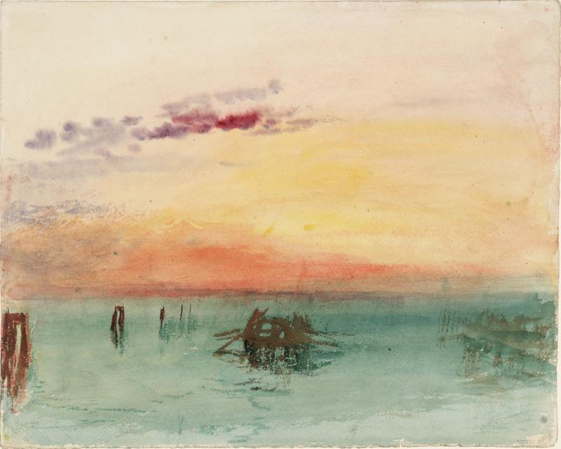 """J.M.W. Turner, """"Venise : vue sur la lagune au coucher du soleil"""" (1840). Aquarelle sur papier, 24,4 x 30,4 cm. Tate, accepté par la nation dans le cadre du legs Turner 1856, Photo © Tate"""