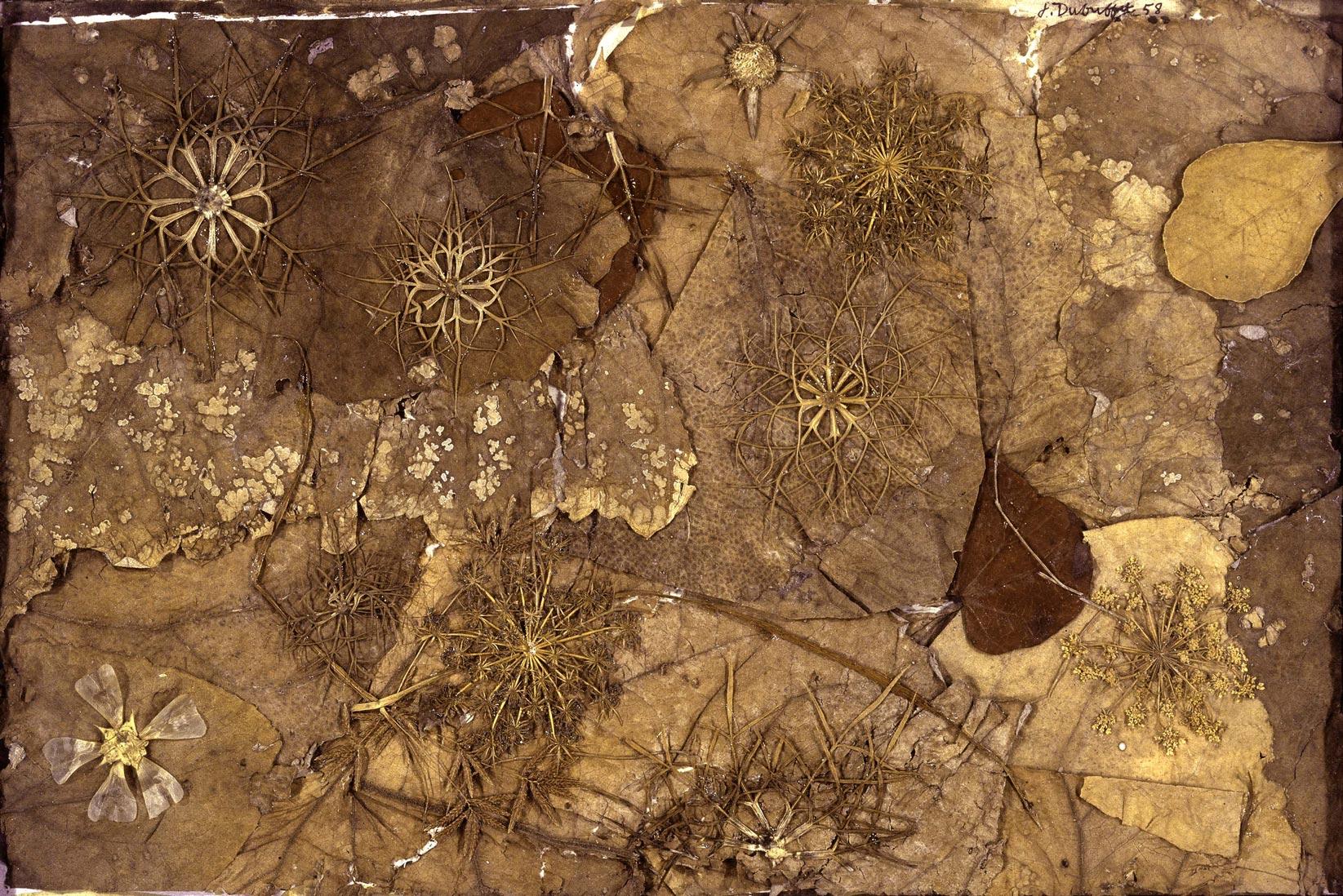 """""""Jardin au sol"""" de Jean Dubuffet, automne 1958.  Éléments botaniques, 24,5 x 37,5 cm Collection Fondation Dubuffet, Paris © Fondation Dubuffet/ADAGP, Paris, 2017"""