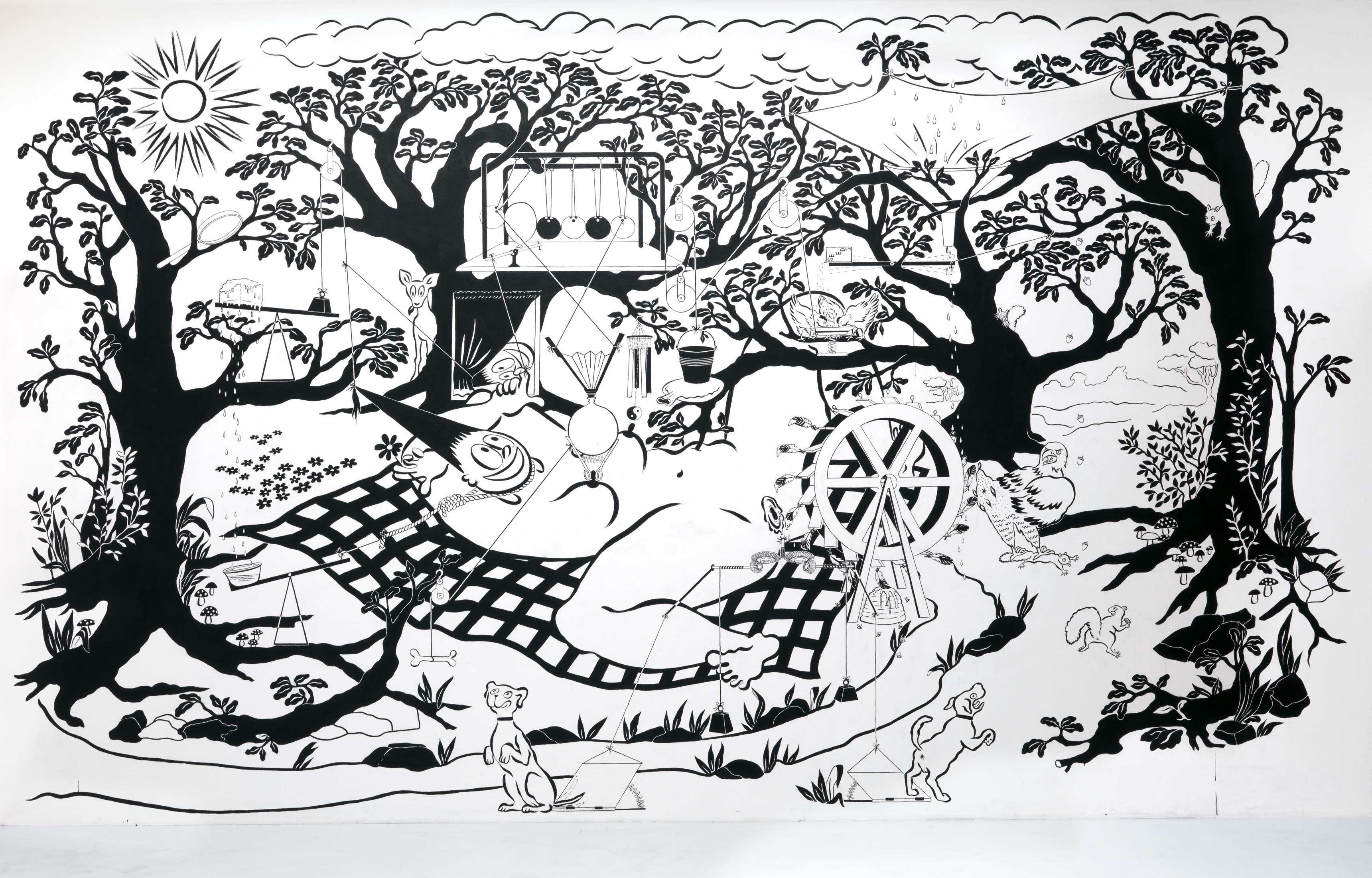 Peinture murale d'Ebecho Muslimova pour la 32e Biennale des arts graphiques de Ljubljana.