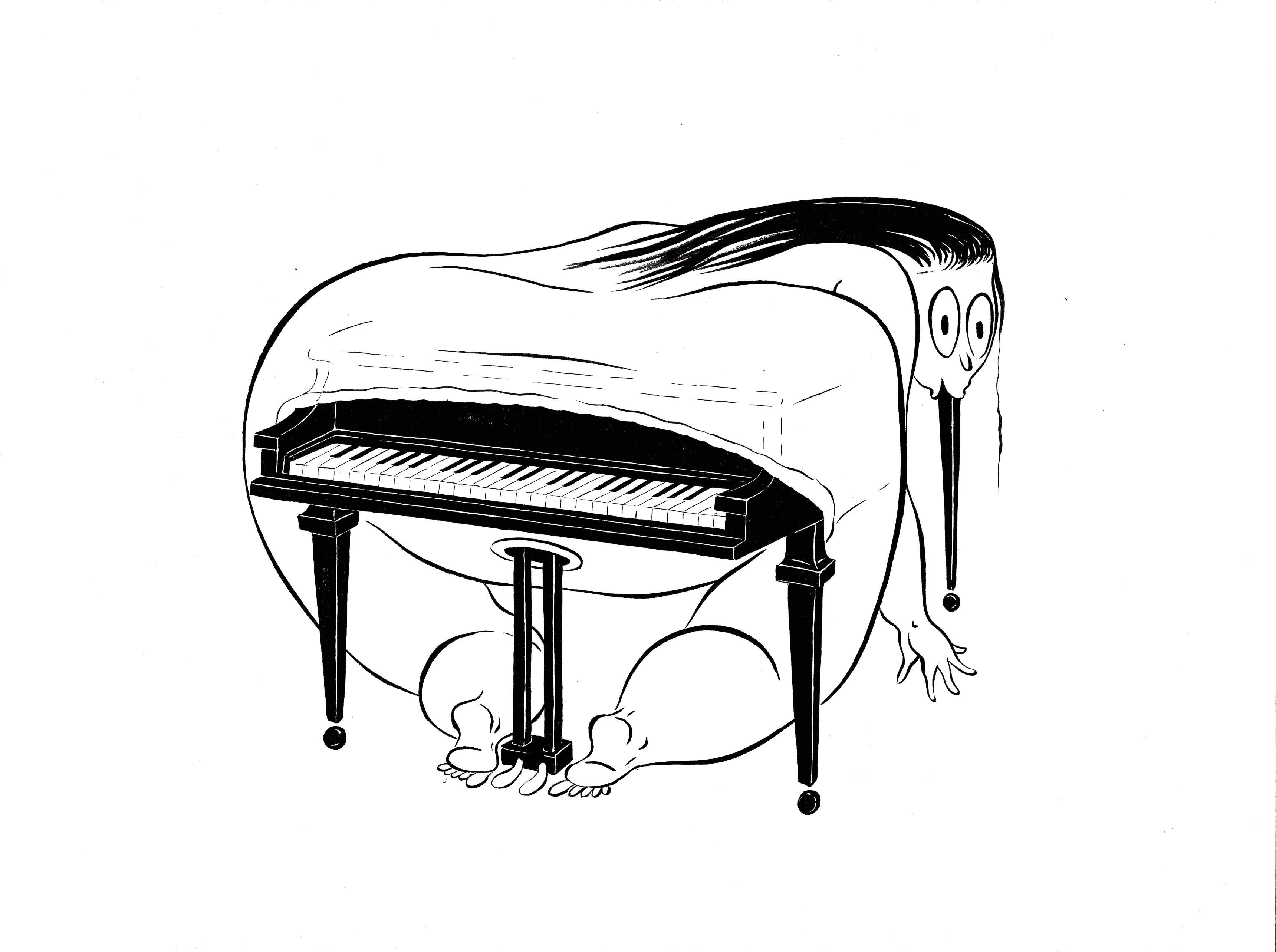 Fatebe Pianist (2017), d'Ebecho Muslimova, dessin à l'encre sur papier, 47,31 x 39,69 cm.