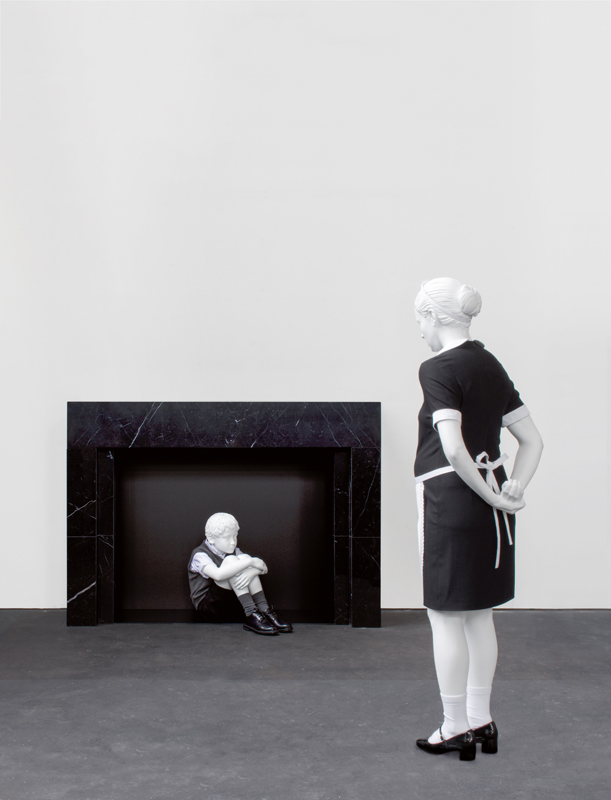 "From left to right ""Invisible"" (2017). Bronze, marble, wood, lacquer and clothing, 125 x 86 x 45 cm (fireplace) and 62 x 26 x 64 cm (little boy). Works exhibited at the Whitechapel Gallery."
