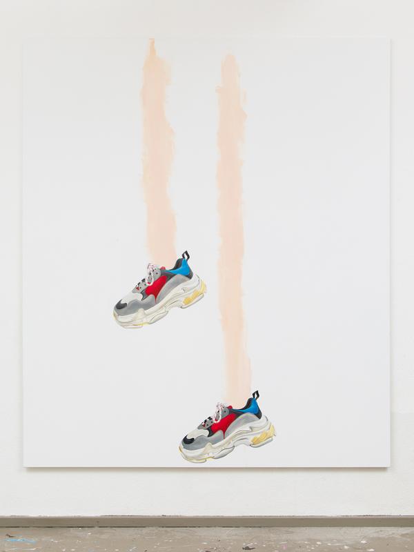"""""""Thinking of Us"""" (2017), d'Eliza Douglas. Huile sur toile, 210 x 180 cm. Photos : Ivan Murzin. Courtesy Air de Paris, Paris."""