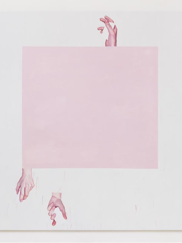 """""""The Ease of Something"""" (2017), d'Eliza Douglas. Huile sur toile, 210 x 180 cm. Photos : Ivan Murzin. Courtesy Air de Paris, Paris."""
