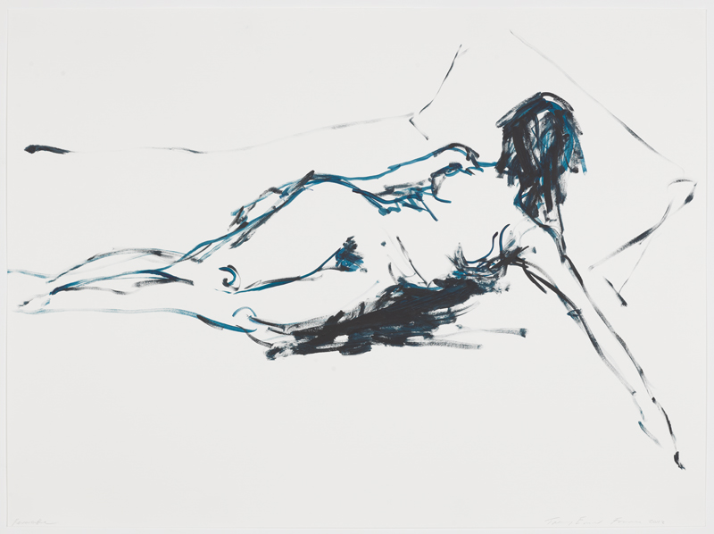 """Thinking of You"" (2012) de Tracey Emin. Gouache sur papier. Courtesy of the artist and Xavier Hufkens, Brussels"