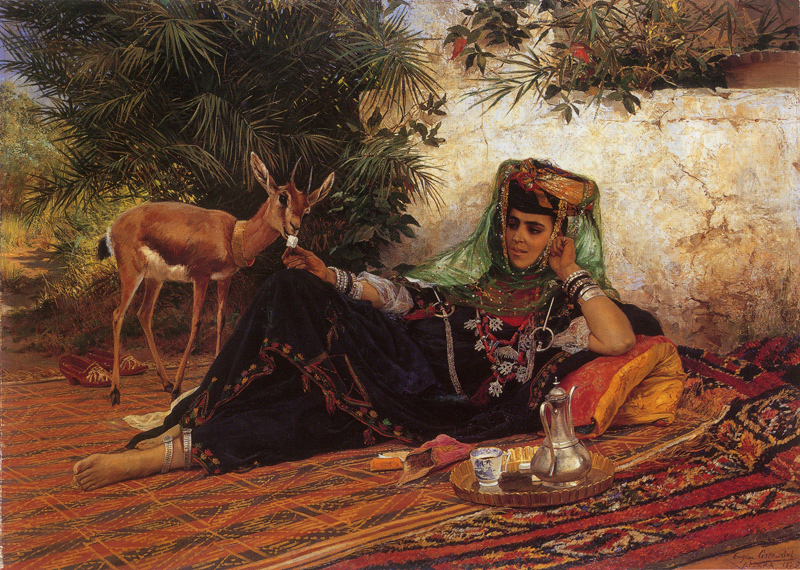 "Eugène GIRARDET, ""Jeune femme de Biskra"", 1879, Huile sur toile"