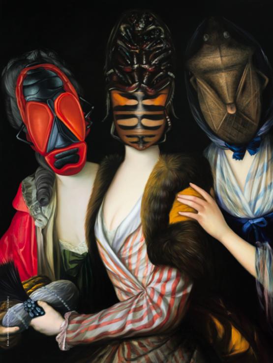 """""""Sisters"""" (After Anton Graff) [2014]. Huile sur toile, 142 x 116 cm."""