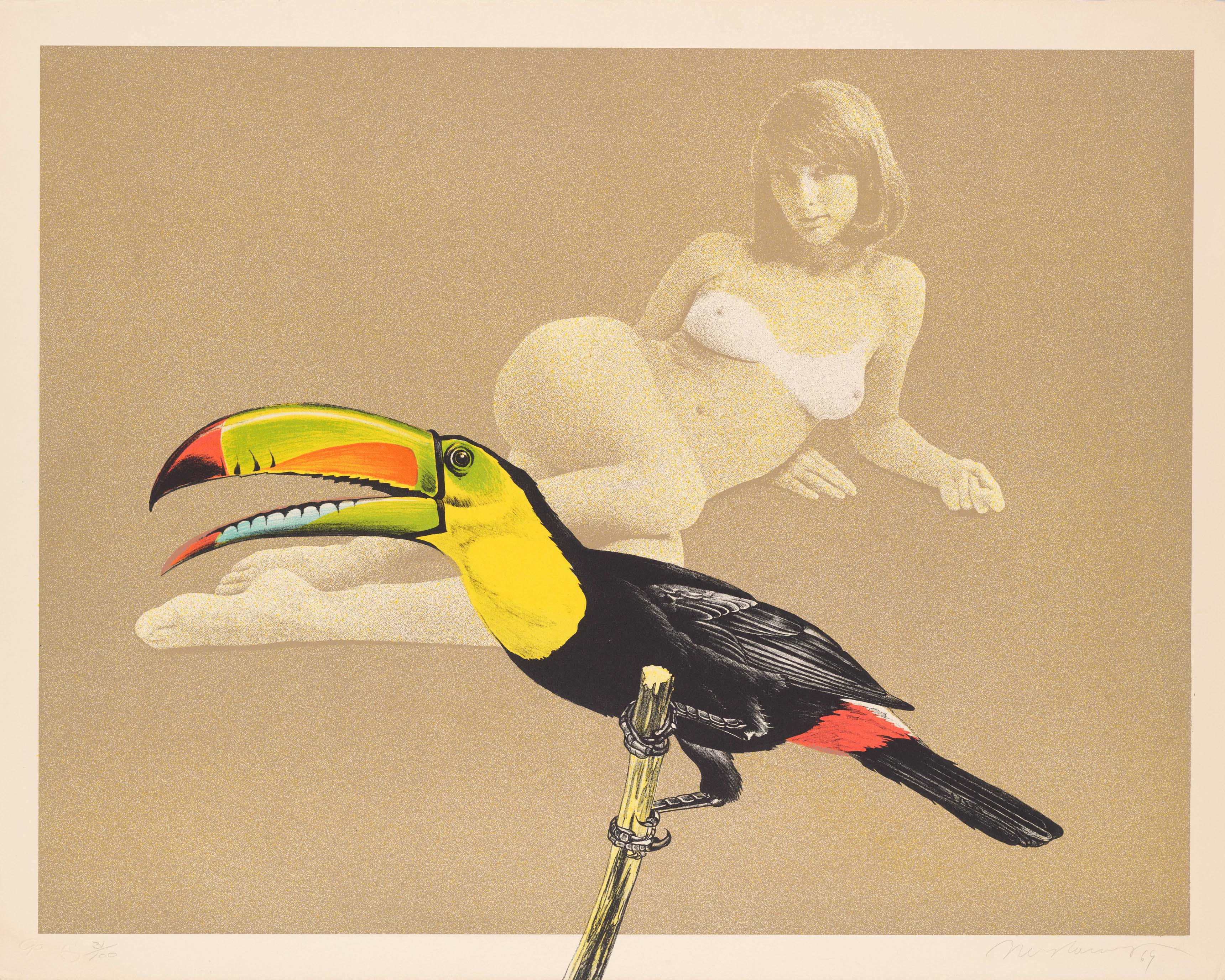 Mel Ramos, Toucan Better Than One, 1969, du portfolio Léda et le cygne, 1969, épreuve photographique et lithographie, 56,7 x 71,3 cm, San Francisco, don de Ruth and Richard Shack © Adagp, Paris, 2017