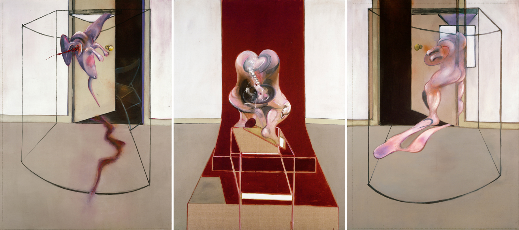 "Francis Bacon, ""Triptych Inspired by the Oresteia of Aeschylus"" (1981) © The Estate of Francis Bacon /All rights reserved / Adagp, Paris and DACS, London 2019 © The Estate of Francis Bacon. All rights reserved. DACS/Artimage 2019. Photo: Prudence Cuming Associates Ltd"